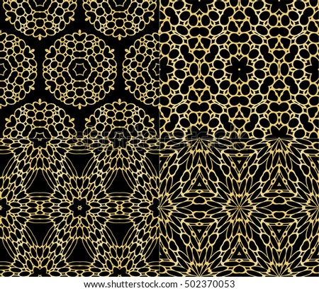 Seamless Geometric Floral Pattern Gold Color Vector Graphic Illustration Ethnic Arabic Indian Ornament