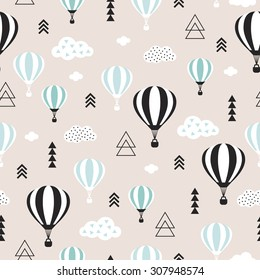 Seamless geometric hot air balloon illustration pastel pink clouds Scandinavian style background pattern in vector blue