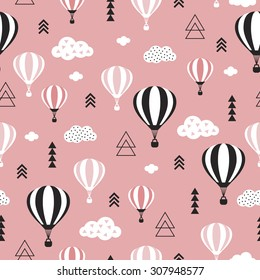 Seamless geometric hot air balloon illustration pastel pink clouds Scandinavian style background pattern in vector pink sky