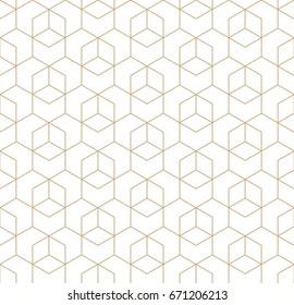 seamless geometric line grid vector cubes pattern