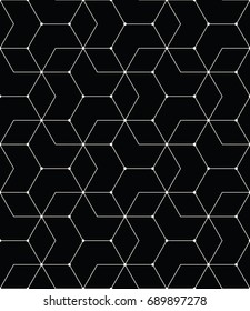 seamless geometric line grid vector hexagon pattern