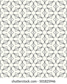 Фотообои Seamless geometric line pattern in arabian style, ethnic ornament. Endless hexagonal texture for wallpaper, banners, invitation cards. Black and white graphic lace background