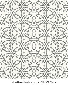 Фотообои Seamless geometric line pattern in arabic style. Repeating linear texture for wallpaper, packaging, banner, invitation, business card, fabric print. Black and white graphic background, lace pattern