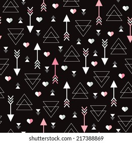 Seamless geometric modern arrow hearts for valentines day and wedding background pattern in vector