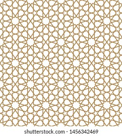 Seamless geometric ornament based on traditional arabic art. Muslim mosaic.Brown color lines.Great design for fabric,textile,cover,wrapping paper,background.Average thickness.