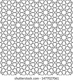 Seamless geometric ornament based on traditional arabic art.Black and white lines.Great design for fabric,textile,cover,wrapping paper,background,laser cutting.Fine lines.