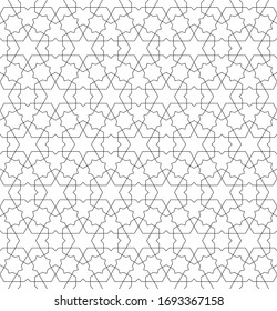 Seamless geometric ornament based on traditional arabic art.Black lines and white background.Great design for fabric,textile,cover,wrapping paper,background.Fine lines.