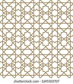Seamless geometric ornament based on traditional arabic art.Brown color lines.Great design for fabric,textile,cover,wrapping paper,background.Thick lines.