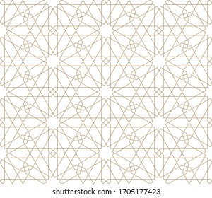 Seamless geometric ornament based on traditional arabic art.Brown color lines.Great design for fabric,textile,cover,wrapping paper,background.Fine lines.
