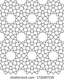 Seamless geometric ornament based on traditional arabic art.Black lines and white background.Great design for fabric,textile,cover,wrapping paper,background.Average thickness lines.