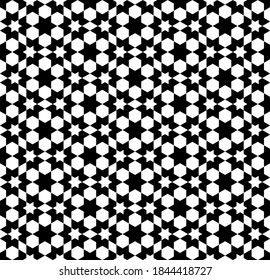 Seamless geometric ornament based on traditional islamic art. White figures on black background. Great design for fabric,textile,cover,wrapping paper,background.