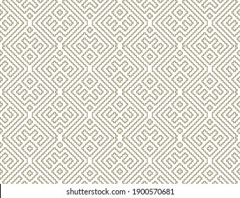 Seamless geometric ornament based on traditional Russian embroidary art. Brown color lines. Great design for fabric,textile,cover,wrapping paper,background. Contoured lines.