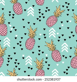 Seamless geometric pastel summer surf theme pineapple illustration sweet hearts background pattern in vector