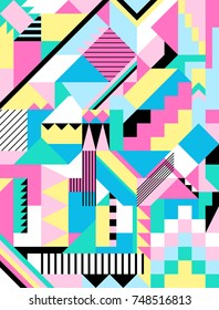 Seamless geometric pattern in 90s abstract style