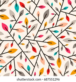 Seamless geometric pattern of autumn leaves and twigs.Vector