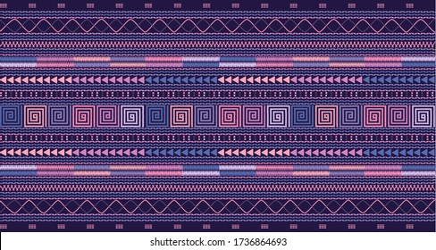 Seamless geometric pattern based on Thai hill tribe embroidery. Pink, pale purple and blue texture on dark blue background.  Idea for printing on fabric or wallpaper.