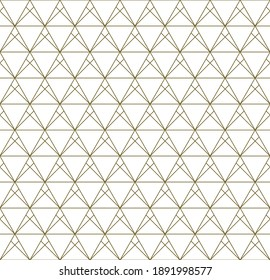 Seamless geometric pattern based on japanese style Kumiko.Gold lines.For design template,textile,fabric,wrapping paper,laser cutting and engraving.Fine lines.
