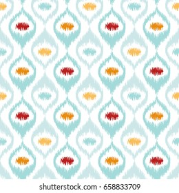 Seamless geometric pattern, based on ikat fabric style. Vector illustration. Carpet rug texture vector imitation. Turquoise mint, yellow orange and red ogee pattern.