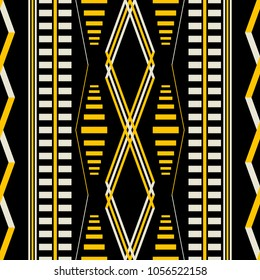 Seamless geometric pattern in black, yellow, dusty white colors. Vertical stripes, rhomboid shapes. Retro fashion textile print