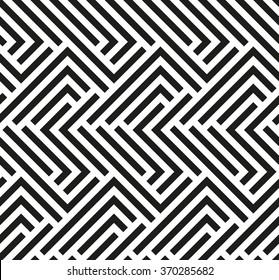 Seamless geometric pattern by stripes. Modern vector background with repeating lines. Black and white wallpaper