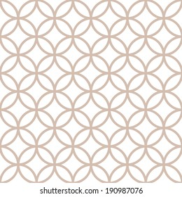 Seamless geometric pattern of circles on a white background. Simple geo pattern. Clothing fabric print. Seamless trellis background