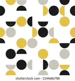 Seamless geometric pattern with circles and semicircles. Scandinavian style. Abstract modern background. Vector wallpaper.