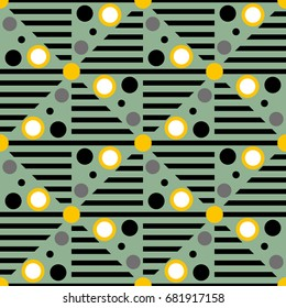 Seamless geometric pattern with circles. Vector art.