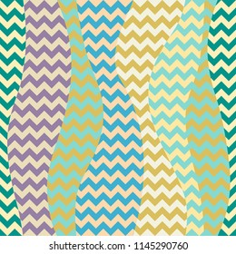 Seamless geometric pattern. Classic chevron pattern in a patchwork collage style. Vector image.