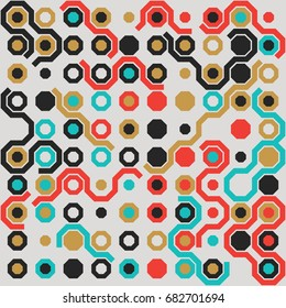 Seamless geometric pattern with colored elements, vector abstract background