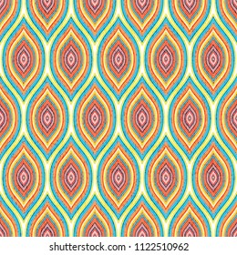 Seamless geometric pattern. Colorful ogee ornament. Wavy print for textiles. Vector illustration.