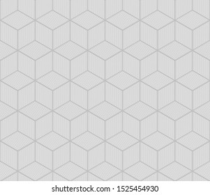 Seamless geometric pattern with cubes. Black and white geometric background. Vector illustration