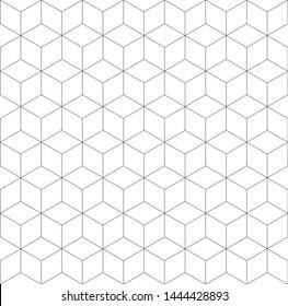 Seamless geometric pattern. Cubic hexagon texture. Rhombus mesh background.