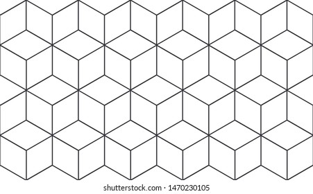 Seamless geometric pattern. Cubic hexagon texture. Rhombus mesh background.