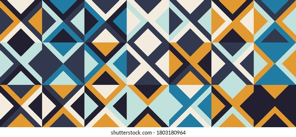 Seamless geometric pattern design made with simple triangle and rhombus shapes. Abstract vector composition graphics, useful for decoration, wallpapers, textile, covers, prints, wrapping paper, etc.