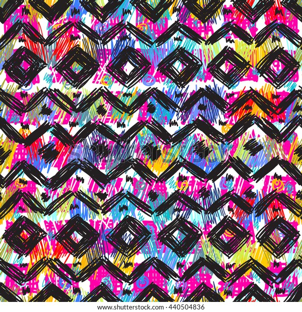 Seamless geometric pattern in ethnic style for your design, hand drawn texture.