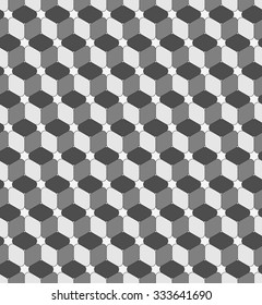Seamless geometric pattern. Fashion graphic background design. Modern stylish texture with rounded rhombuses. Optical illusion 3D. For prints, textiles, wrapping, wallpaper, website, blogs etc. VECTOR