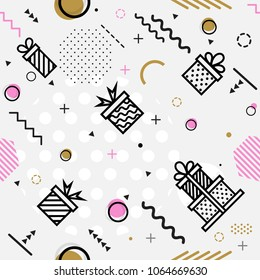 Seamless geometric pattern with Gift, vector illustration with line elements and abstract geometric figures. Design backgrounds for wallpaper