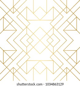 Seamless geometric pattern. Golden background. Vector seamless pattern. Golden texture. Geometric background with rhombus and nodes. Abstract geometric pattern.