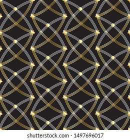 Seamless geometric pattern with golden gradient and shiny design for festive and celebration occasions, wedding, Christmas, invitation cards, textile, fabric, wallpaper and creative rich surface desig