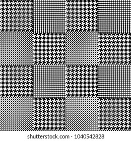 Seamless  geometric pattern goose foot and hound tooth. Classic English check pattern for fabric, clothing, head scarf, plaid, dresses and coats.