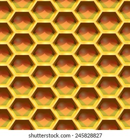 Seamless Geometric Pattern Of Heart In The Honeycomb. Vector Illustration
