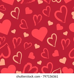 Seamless geometric pattern with hearts on a valentine's day.