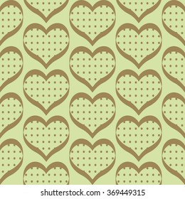 Seamless geometric pattern with hearts. Vector illustration for romantic design. Endless texture for printing onto fabric, web page background and paper or invitation.  Brown color.