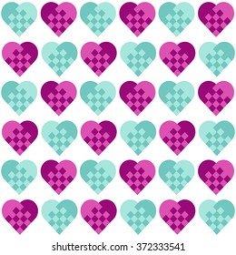 Seamless geometric pattern with hearts.fancy heart pattern.