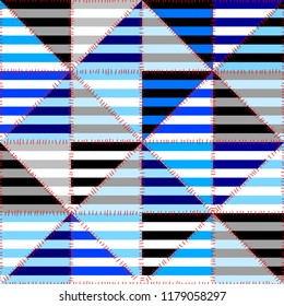 Seamless geometric pattern. Horizontal blue strips pattern in a patchwork collage style. Vector image.