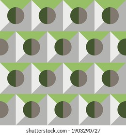 Seamless geometric pattern with the image of circles, squares, triangles. Vector design for web banner, business presentation, brand package, fabric, print, wallpaper, postcard.