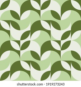Seamless geometric pattern with the image of spring flowers, herbs, leaves, plants, circles. Vector design for web banner, business presentation, brand package, fabric, print, wallpaper, postcard.