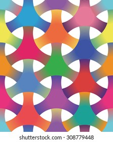 Seamless Geometric Pattern of Interlocking Rings, Circular Grid. Colorful background vector design.