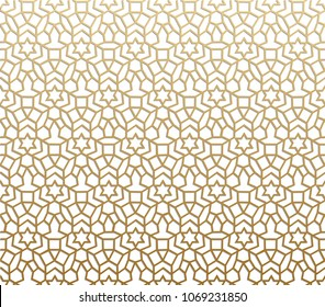 Seamless geometric pattern. Islamic pattern. arabic, east ornament, indian ornament, persian motif, 3D.  Ramadan Kareem gold greeting card, banner. geometric ornate, shining vector illustration.