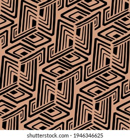 Seamless geometric pattern. Line pattern in beige and black colour.  Grunge maze design. Trendy simple swirl pattern. Fashionable abstract design for textiles and interiors. Indian design.